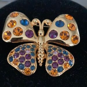 JOAN RIVERS MULTI COLORED RHINESTONE BUTTERFLY PIN